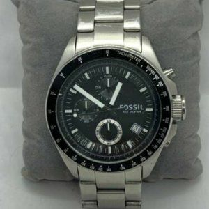 Fossil Men's Stainless Steel Black Dial Watch D634